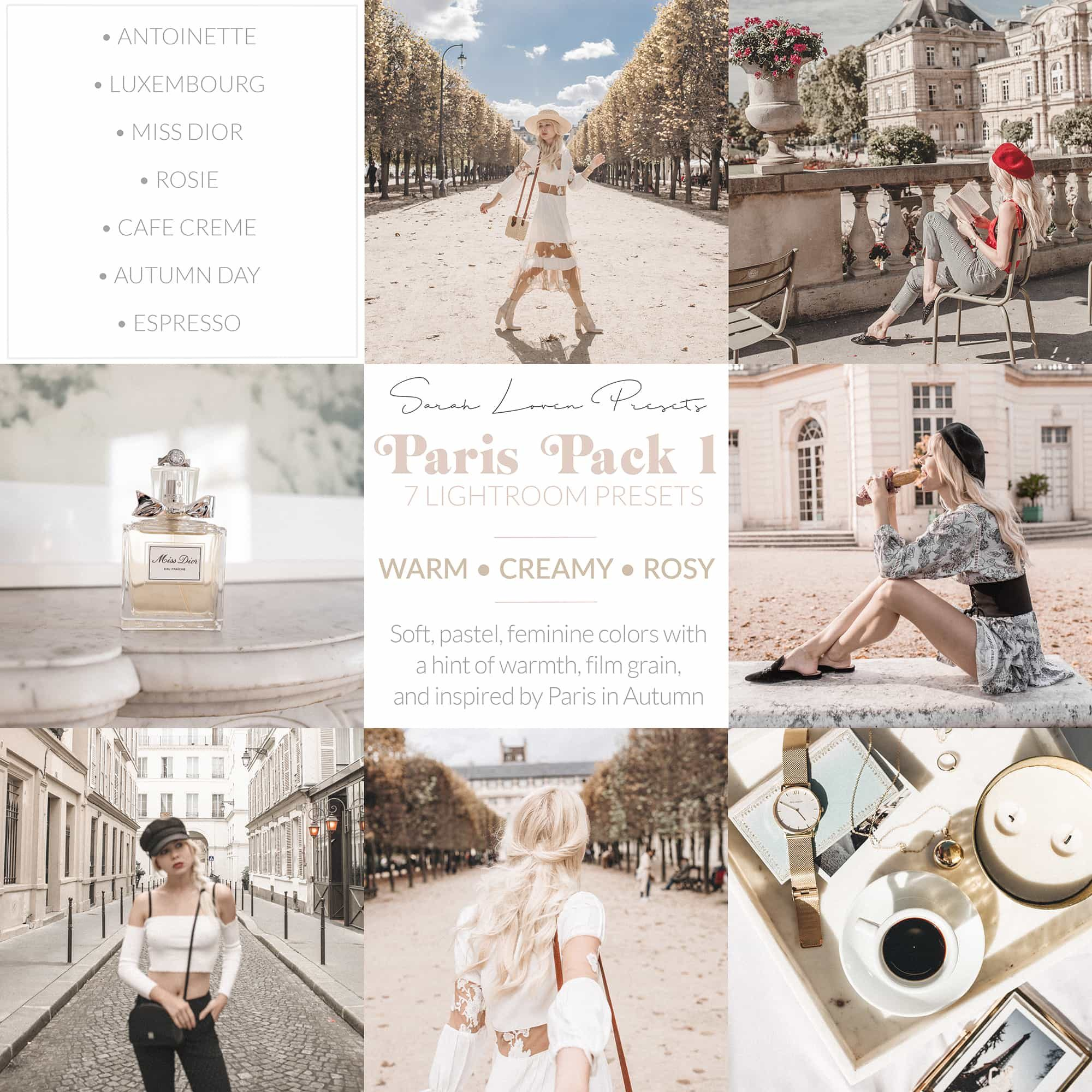 Sarah Lovens Paris Pack 1 for Adobe Lightroom.