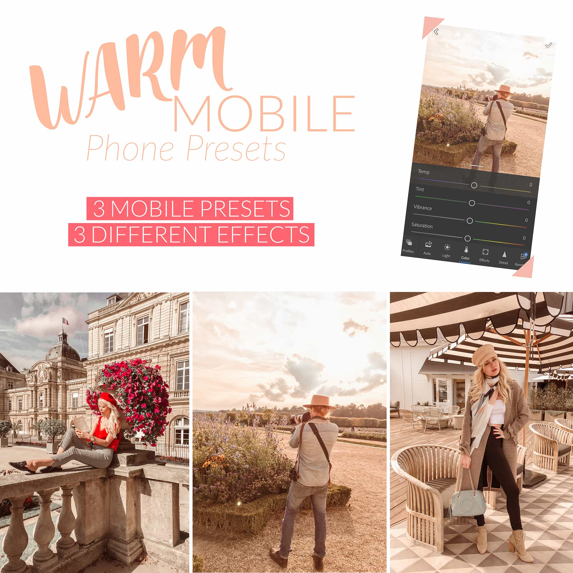 Sarah Loven Presets Warm Mobile Lightroom Preset pack.